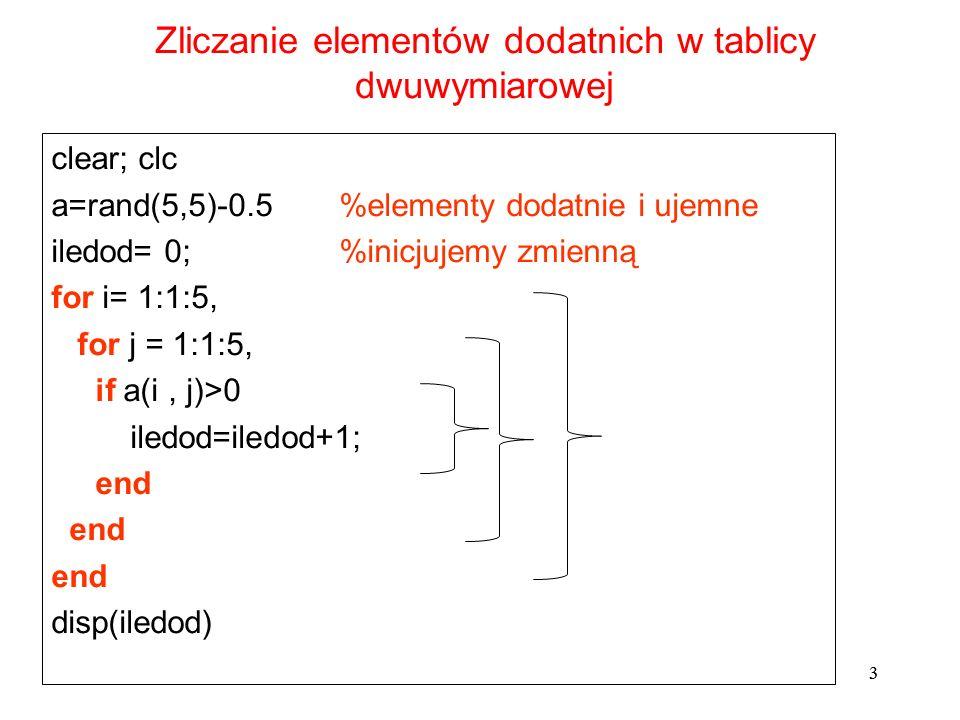 3 clear; clc a=rand(5,5)-0.5 %elementy dodatnie i ujemne iledod= 0;%inicjujemy zmienną for i= 1:1:5, for j = 1:1:5, if a(i, j)>0 iledod=iledod+1; end