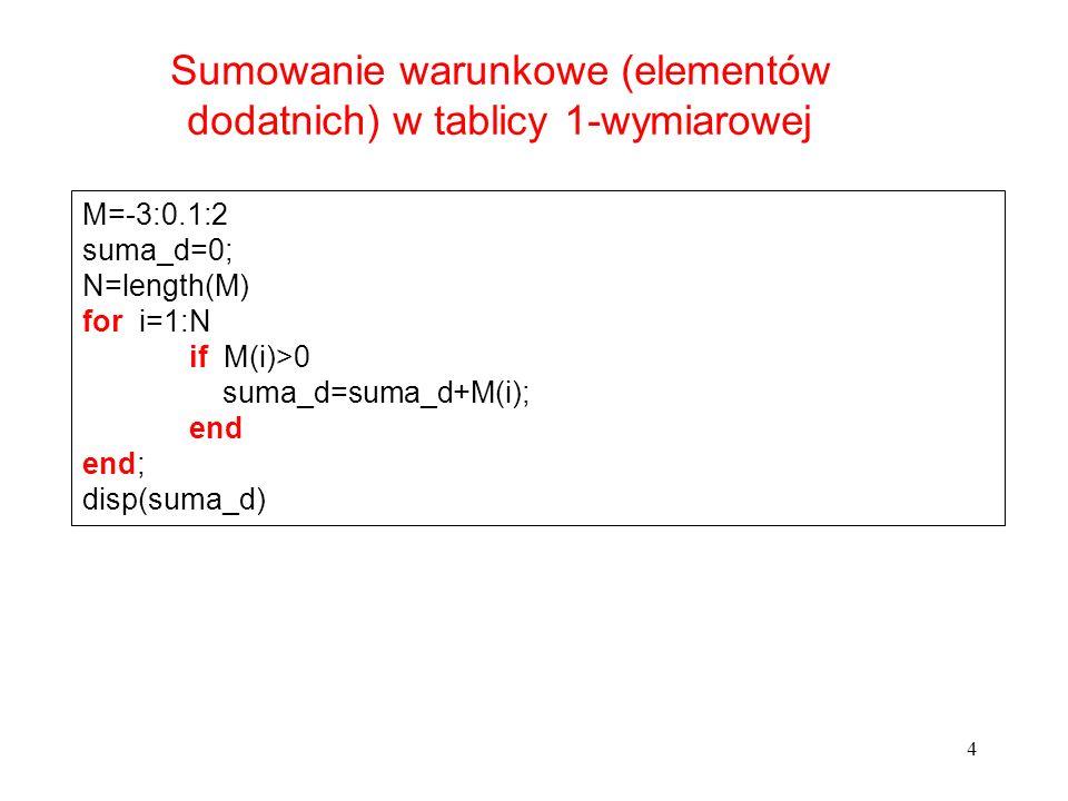 4 M=-3:0.1:2 suma_d=0; N=length(M) for i=1:N if M(i)>0 suma_d=suma_d+M(i); end end; disp(suma_d) Sumowanie warunkowe (elementów dodatnich) w tablicy 1
