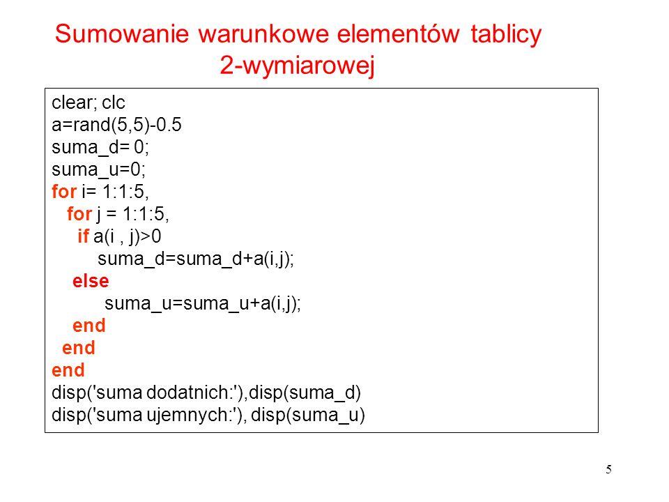 5 clear; clc a=rand(5,5)-0.5 suma_d= 0; suma_u=0; for i= 1:1:5, for j = 1:1:5, if a(i, j)>0 suma_d=suma_d+a(i,j); else suma_u=suma_u+a(i,j); end disp(