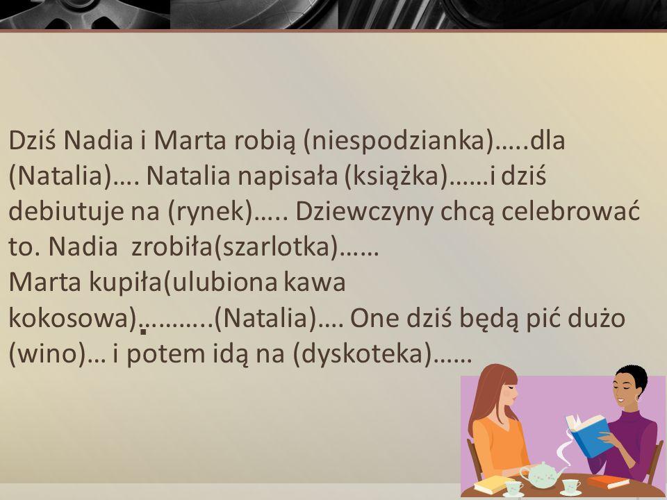 Dziś Nadia i Marta robią (niespodzianka)…..dla (Natalia)…. Natalia napisała (książka)……i dziś debiutuje na (rynek)….. Dziewczyny chcą celebrować to. N