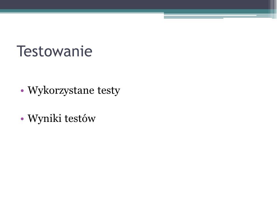 Testowanie Wykorzystane testy Wyniki testów