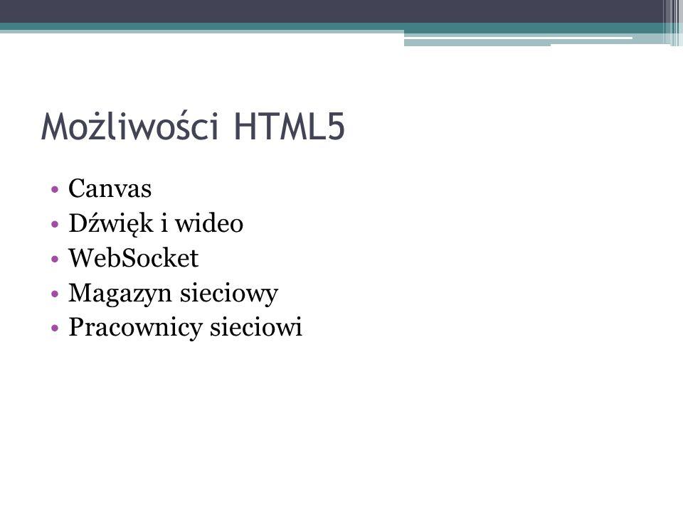 Możliwości HTML5 Canvas Dźwięk i wideo WebSocket Magazyn sieciowy Pracownicy sieciowi