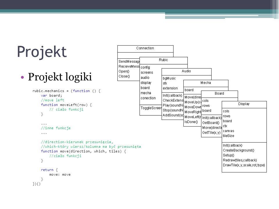 Projekt Projekt logiki rubic.mechanics = (function () { var board; //move left function moveLeft(row) { // ciało funkcji }... //inne funkcje... //dire