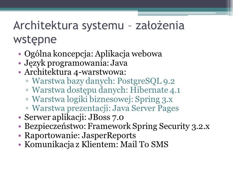 Architektura systemu – założenia wstępne Ogólna koncepcja: Aplikacja webowa Język programowania: Java Architektura 4-warstwowa: Warstwa bazy danych: PostgreSQL 9.2 Warstwa dostępu danych: Hibernate 4.1 Warstwa logiki biznesowej: Spring 3.x Warstwa prezentacji: Java Server Pages Serwer aplikacji: JBoss 7.0 Bezpieczeństwo: Framework Spring Security 3.2.x Raportowanie: JasperReports Komunikacja z Klientem: Mail To SMS