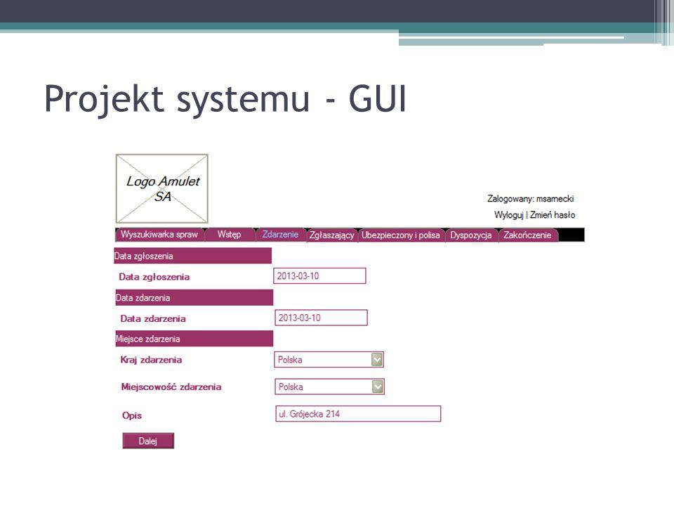 Projekt systemu - GUI