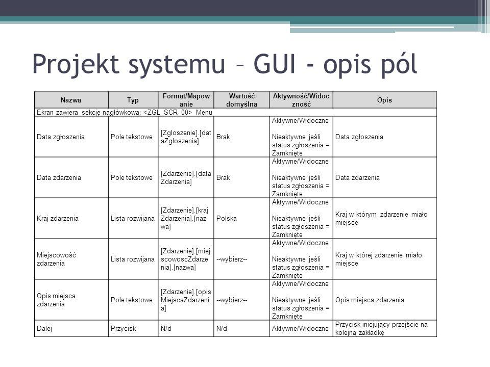 Projekt systemu – GUI - opis pól NazwaTyp Format/Mapow anie Wartość domyślna Aktywność/Widoc zność Opis Ekran zawiera sekcję nagłówkową: Menu Data zgłoszeniaPole tekstowe [Zgloszenie].[dat aZgloszenia] Brak Aktywne/Widoczne Nieaktywne jeśli status zgłoszenia = Zamknięte Data zgłoszenia Data zdarzeniaPole tekstowe [Zdarzenie].[data Zdarzenia] Brak Aktywne/Widoczne Nieaktywne jeśli status zgłoszenia = Zamknięte Data zdarzenia Kraj zdarzeniaLista rozwijana [Zdarzenie].[kraj Zdarzenia].[naz wa] Polska Aktywne/Widoczne Nieaktywne jeśli status zgłoszenia = Zamknięte Kraj w którym zdarzenie miało miejsce Miejscowość zdarzenia Lista rozwijana [Zdarzenie].[miej scowoscZdarze nia].[nazwa] --wybierz-- Aktywne/Widoczne Nieaktywne jeśli status zgłoszenia = Zamknięte Kraj w której zdarzenie miało miejsce Opis miejsca zdarzenia Pole tekstowe [Zdarzenie].[opis MiejscaZdarzeni a] --wybierz-- Aktywne/Widoczne Nieaktywne jeśli status zgłoszenia = Zamknięte Opis miejsca zdarzenia DalejPrzyciskN/d Aktywne/Widoczne Przycisk inicjujący przejście na kolejną zakładkę