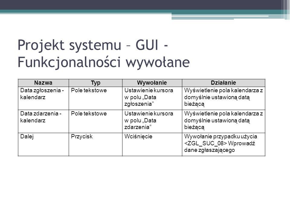 Projekt systemu – GUI - Funkcjonalności wywołane NazwaTypWywołanieDziałanie Data zgłoszenia - kalendarz Pole tekstoweUstawienie kursora w polu Data zgłoszenia Wyświetlenie pola kalendarza z domyślnie ustawioną datą bieżącą Data zdarzenia - kalendarz Pole tekstoweUstawienie kursora w polu Data zdarzenia Wyświetlenie pola kalendarza z domyślnie ustawioną datą bieżącą DalejPrzyciskWciśnięcieWywołanie przypadku użycia Wprowadź dane zgłaszającego