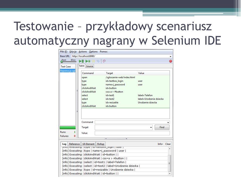 Testowanie – przykładowy scenariusz automatyczny nagrany w Selenium IDE