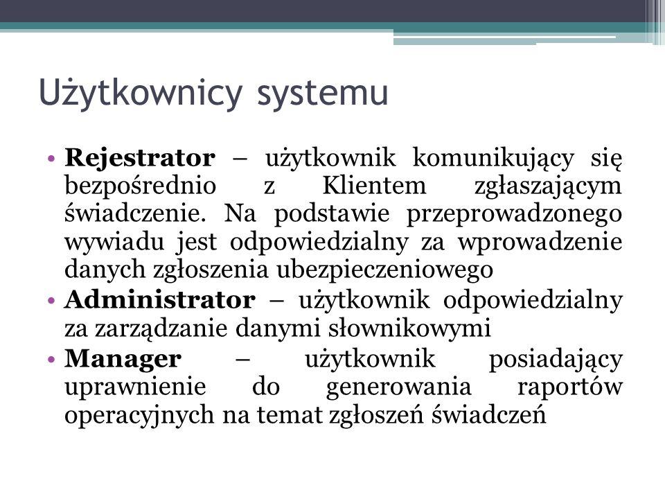 Użytkownicy systemu Rejestrator – użytkownik komunikujący się bezpośrednio z Klientem zgłaszającym świadczenie.