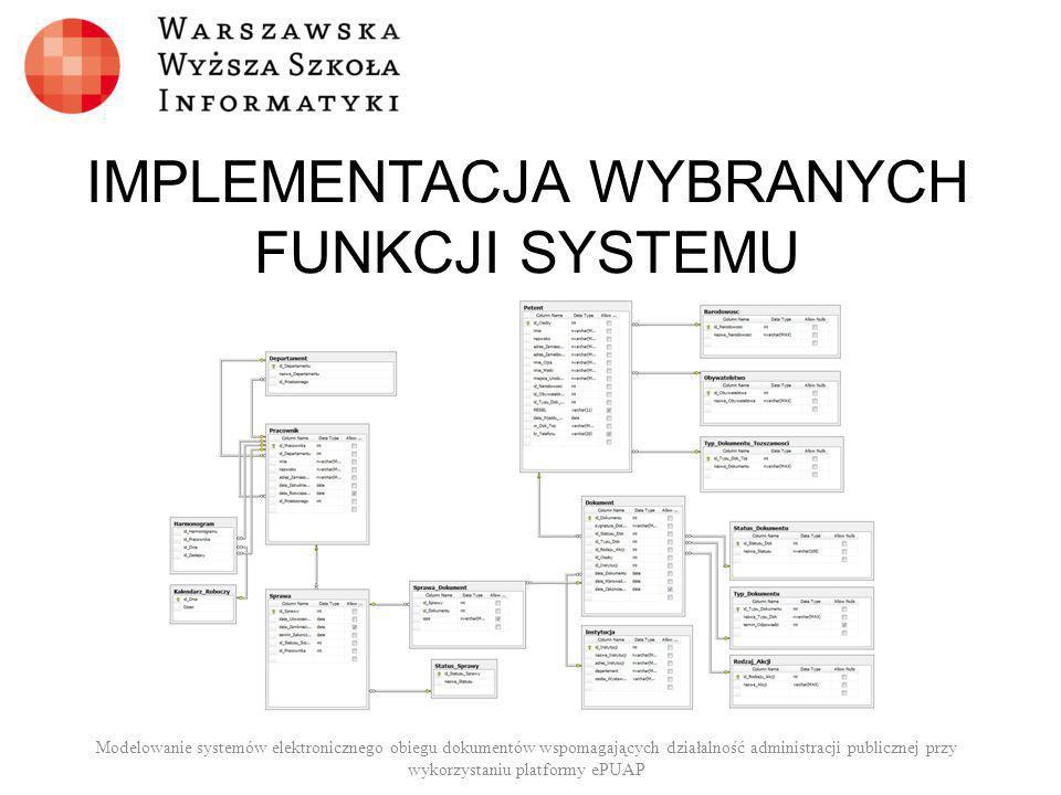IMPLEMENTACJA WYBRANYCH FUNKCJI SYSTEMU Modelowanie systemów elektronicznego obiegu dokumentów wspomagających działalność administracji publicznej prz