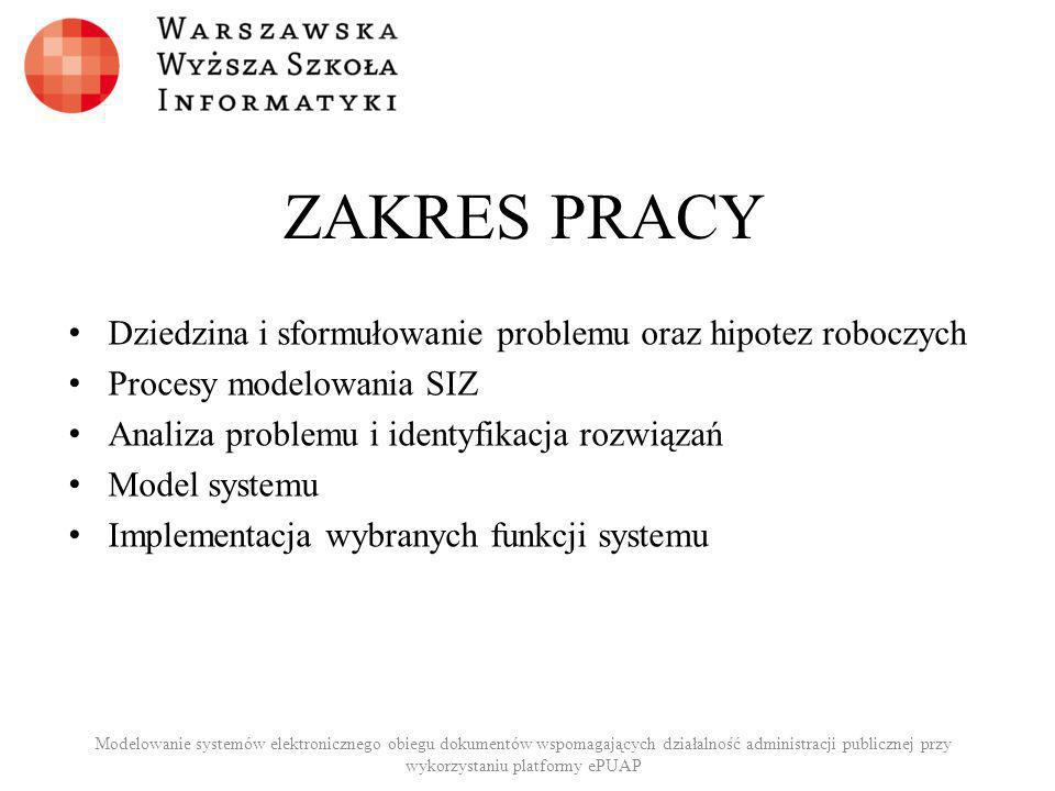 ZAKRES PRACY Dziedzina i sformułowanie problemu oraz hipotez roboczych Procesy modelowania SIZ Analiza problemu i identyfikacja rozwiązań Model system
