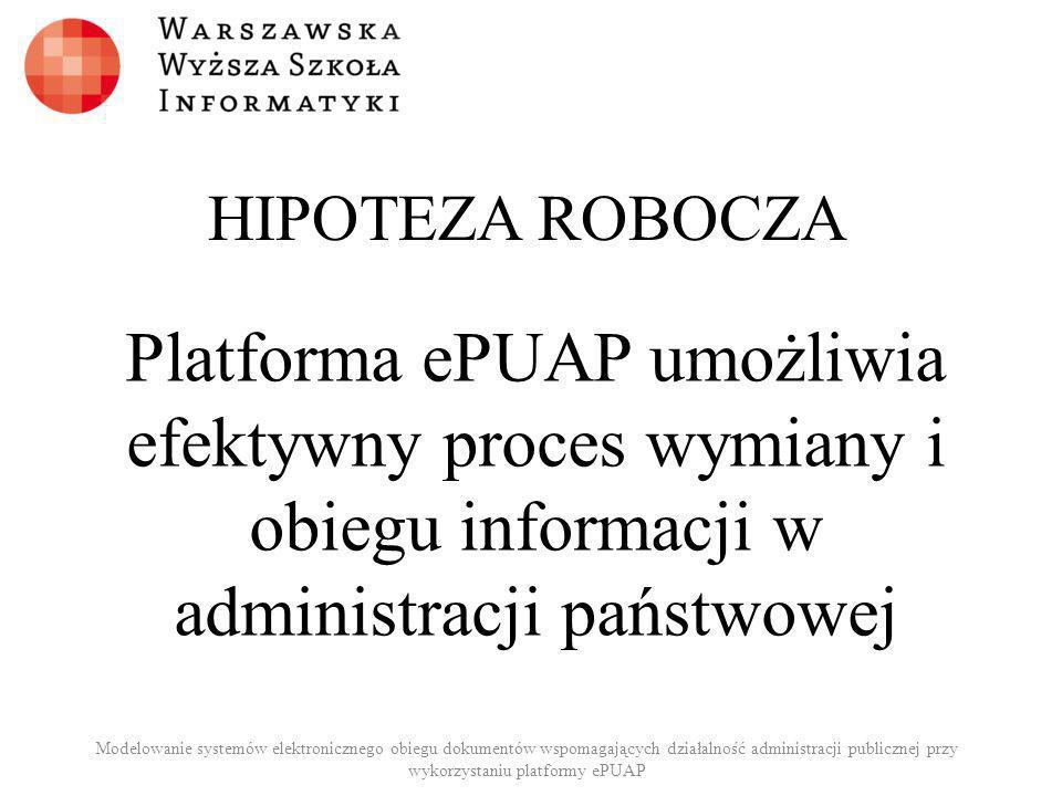 HIPOTEZA ROBOCZA Platforma ePUAP umożliwia efektywny proces wymiany i obiegu informacji w administracji państwowej Modelowanie systemów elektroniczneg