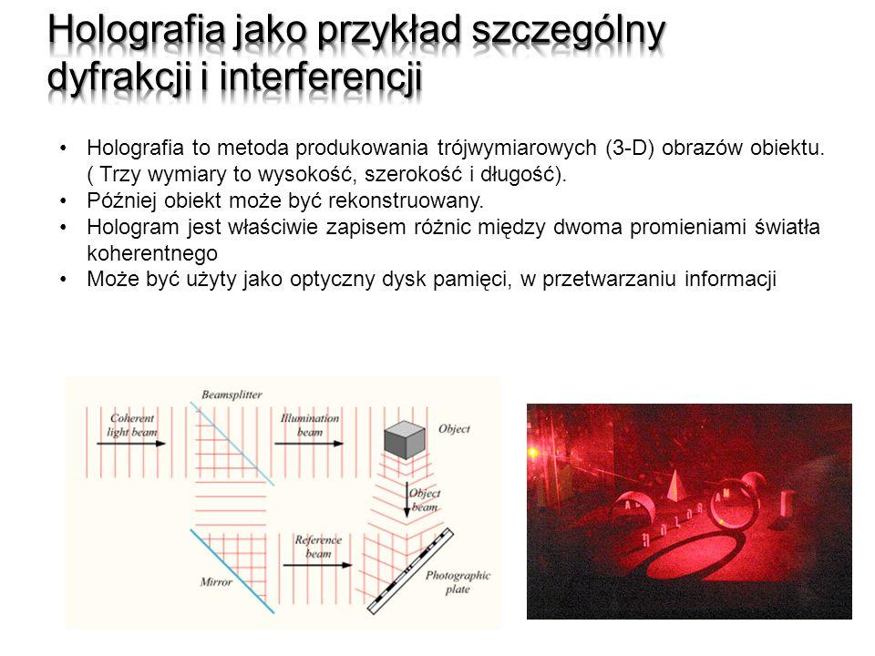 Holografia to metoda produkowania trójwymiarowych (3-D) obrazów obiektu. ( Trzy wymiary to wysokość, szerokość i długość). Później obiekt może być rek