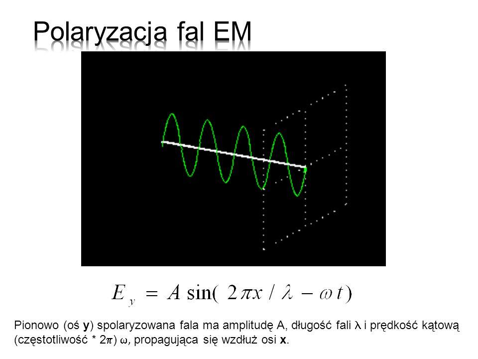 Pionowo (oś y) spolaryzowana fala ma amplitudę A, długość fali i prędkość kątową (częstotliwość * 2 ), propagująca się wzdłuż osi x.