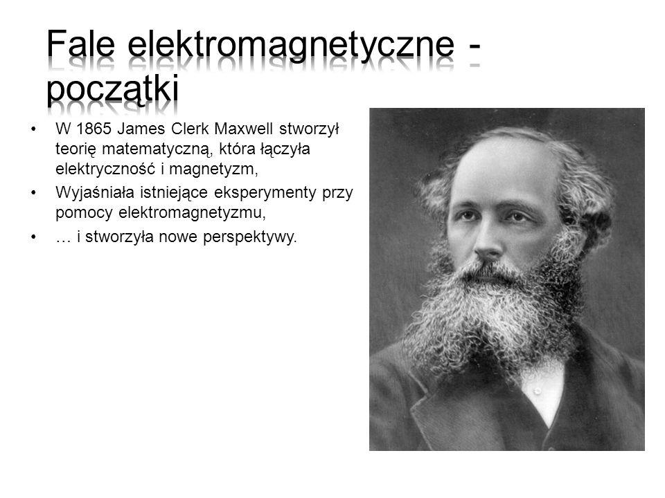 W 1865 James Clerk Maxwell stworzył teorię matematyczną, która łączyła elektryczność i magnetyzm, Wyjaśniała istniejące eksperymenty przy pomocy elekt