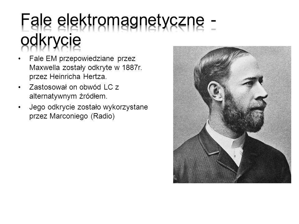 Fale EM przepowiedziane przez Maxwella zostały odkryte w 1887r. przez Heinricha Hertza. Zastosował on obwód LC z alternatywnym źródłem. Jego odkrycie