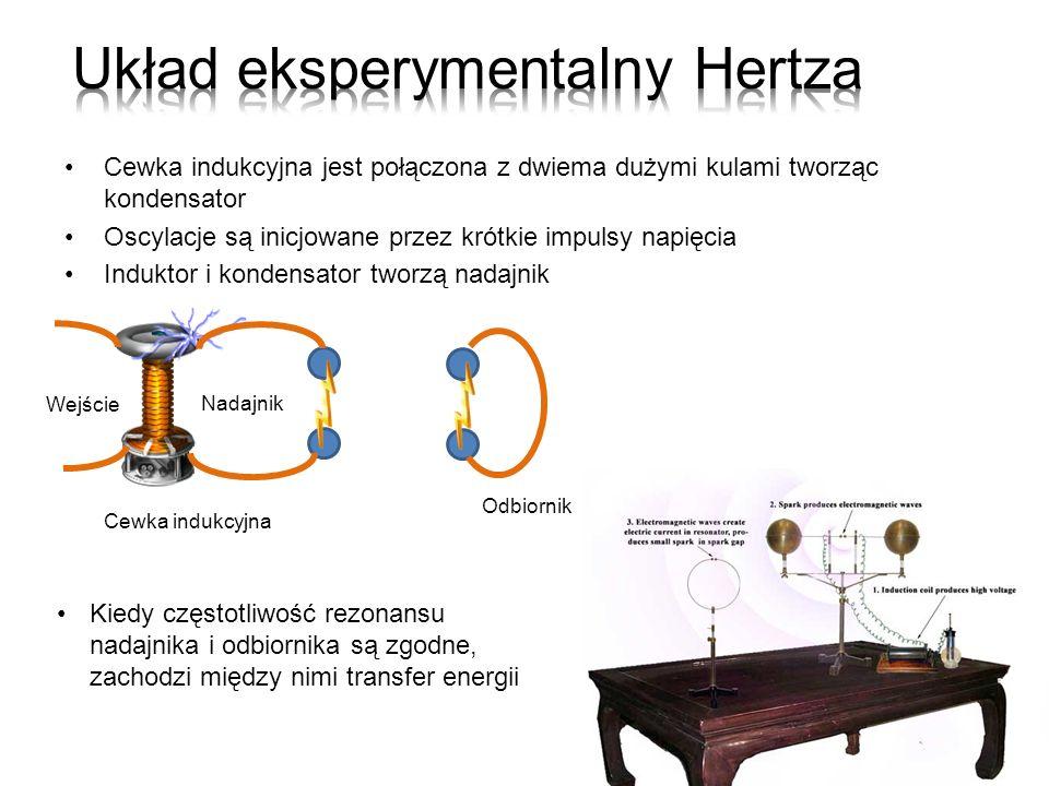 Cewka indukcyjna jest połączona z dwiema dużymi kulami tworząc kondensator Oscylacje są inicjowane przez krótkie impulsy napięcia Induktor i kondensat