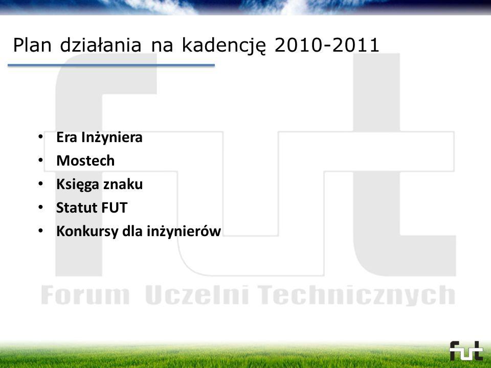 Plan działania na kadencję 2010-2011 Era Inżyniera Mostech Księga znaku Statut FUT Konkursy dla inżynierów