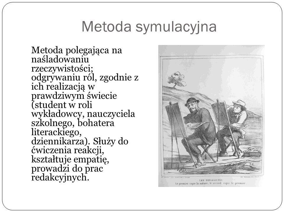 Metoda symulacyjna Metoda polegająca na naśladowaniu rzeczywistości; odgrywaniu ról, zgodnie z ich realizacją w prawdziwym świecie (student w roli wyk