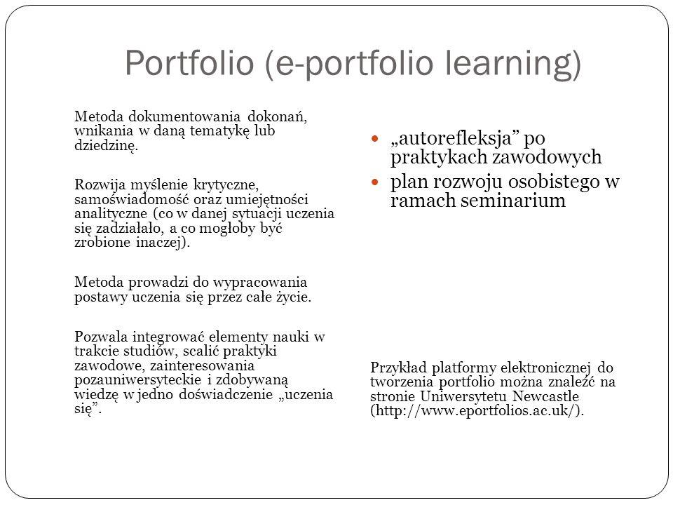 Portfolio (e-portfolio learning) Metoda dokumentowania dokonań, wnikania w daną tematykę lub dziedzinę. Rozwija myślenie krytyczne, samoświadomość ora