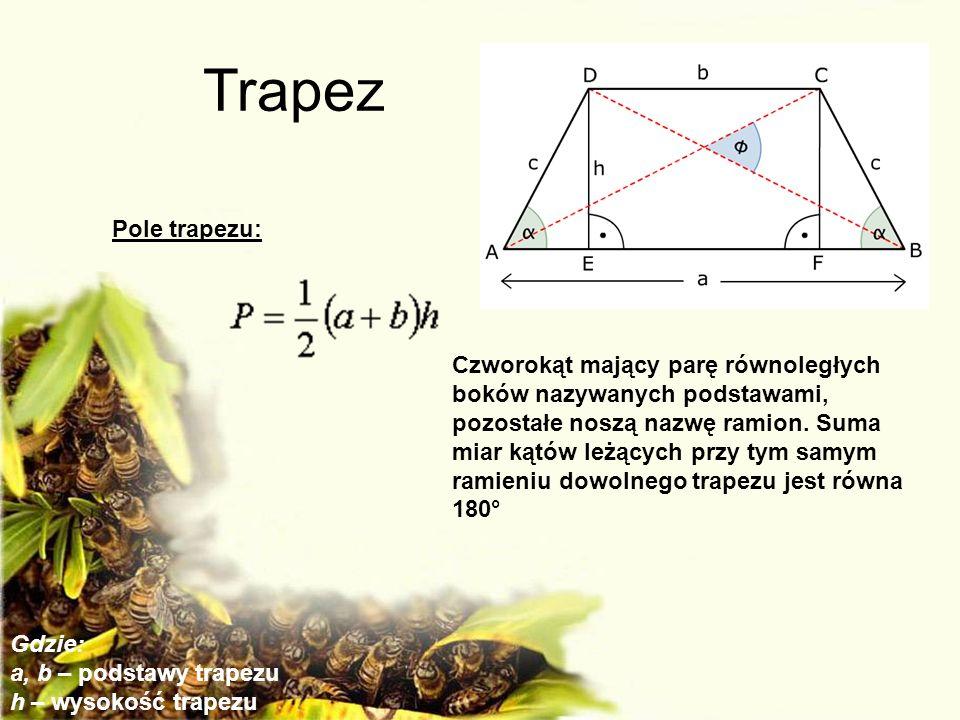 Trapez Czworokąt mający parę równoległych boków nazywanych podstawami, pozostałe noszą nazwę ramion. Suma miar kątów leżących przy tym samym ramieniu