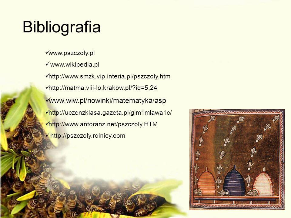 Bibliografia www.pszczoly.pl www.wikipedia.pl http://www.smzk.vip.interia.pl/pszczoly.htm http://matma.viii-lo.krakow.pl/?id=5,24 www.wiw.pl/nowinki/m