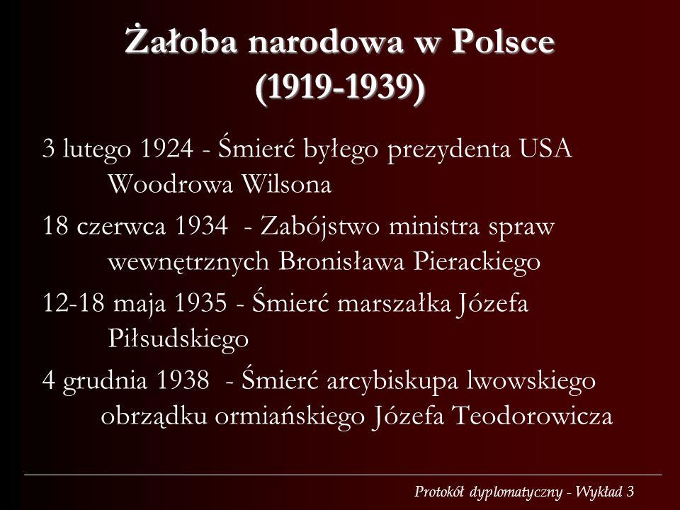 Protokół dyplomatyczny - Wykład 3 Żałoba narodowa w Polsce (1919-1939) 3 lutego 1924 - Śmierć byłego prezydenta USA Woodrowa Wilsona 18 czerwca 1934 -