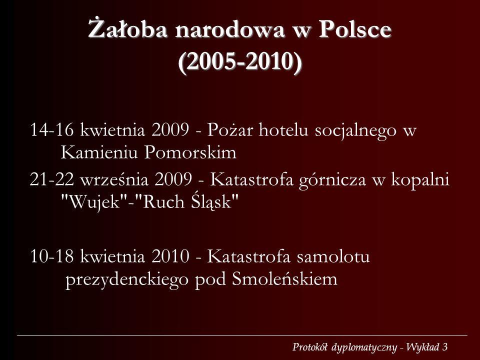 Protokół dyplomatyczny - Wykład 3 Żałoba narodowa w Polsce (2005-2010) 14-16 kwietnia 2009 - Pożar hotelu socjalnego w Kamieniu Pomorskim 21-22 wrześn