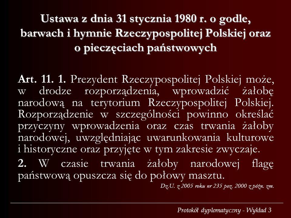 Protokół dyplomatyczny - Wykład 3 Ustawa z dnia 31 stycznia 1980 r. o godle, barwach i hymnie Rzeczypospolitej Polskiej oraz o pieczęciach państwowych