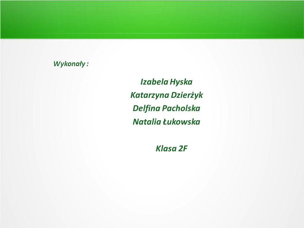 Wykonały : Izabela Hyska Katarzyna Dzierżyk Delfina Pacholska Natalia Łukowska Klasa 2F