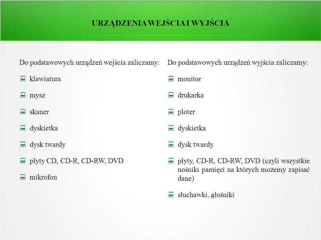 URZĄDZENIA WEJŚCIA I WYJŚCIA Do podstawowych urządzeń wejścia zaliczamy: klawiatura mysz skaner dyskietka dysk twardy płyty CD, CD-R, CD-RW, DVD mikro