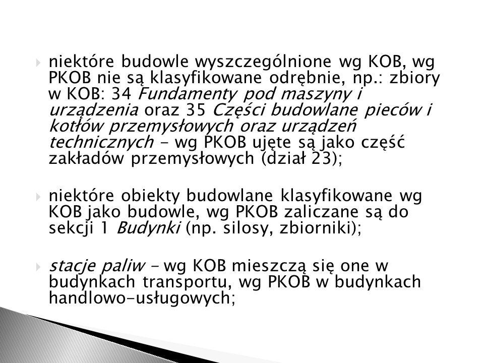 niektóre budowle wyszczególnione wg KOB, wg PKOB nie są klasyfikowane odrębnie, np.: zbiory w KOB: 34 Fundamenty pod maszyny i urządzenia oraz 35 Częś