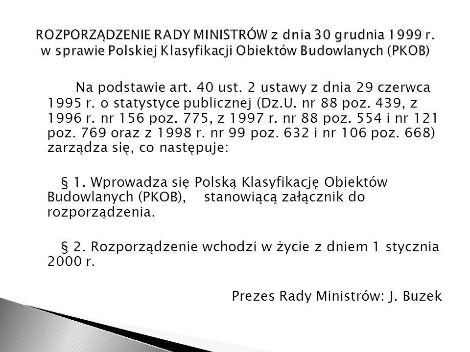 Polska Klasyfikacja Obiektów Budowlanych (PKOB) służy potrzebom statystyki działalności budowlanej, sporządzania sprawozdań budowlanych, spisów budowli i mieszkań, statystyki cen obiektów budowlanych oraz rachunków narodowych.