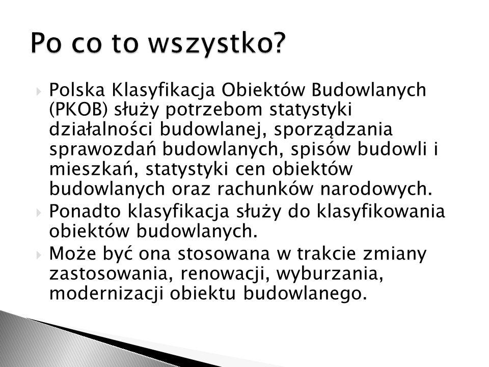 Polska Klasyfikacja Obiektów Budowlanych (PKOB) służy potrzebom statystyki działalności budowlanej, sporządzania sprawozdań budowlanych, spisów budowl