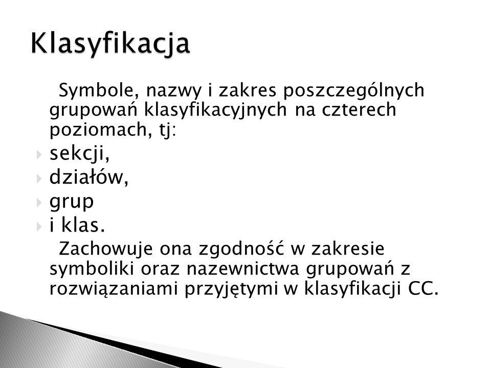 Polska Klasyfikacja Obiektów Budowlanych jest klasyfikacją czteropoziomową.