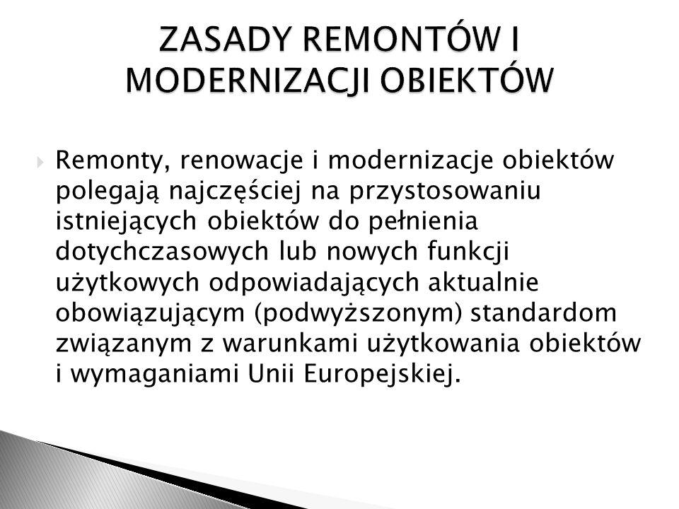 Remonty, renowacje i modernizacje obiektów polegają najczęściej na przystosowaniu istniejących obiektów do pełnienia dotychczasowych lub nowych funkcj
