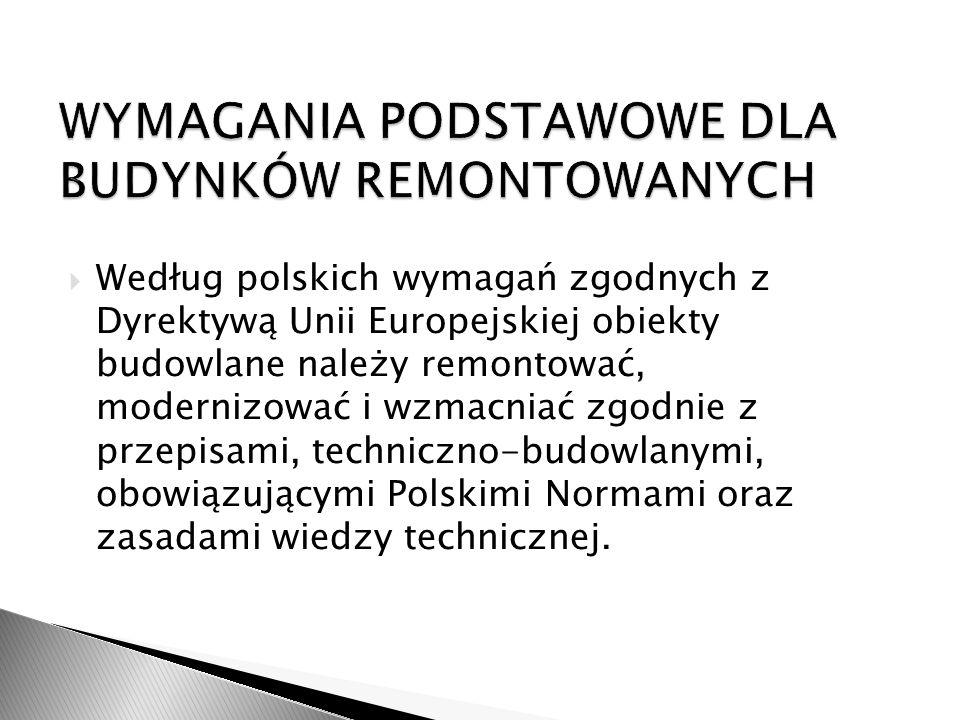 Według polskich wymagań zgodnych z Dyrektywą Unii Europejskiej obiekty budowlane należy remontować, modernizować i wzmacniać zgodnie z przepisami, tec