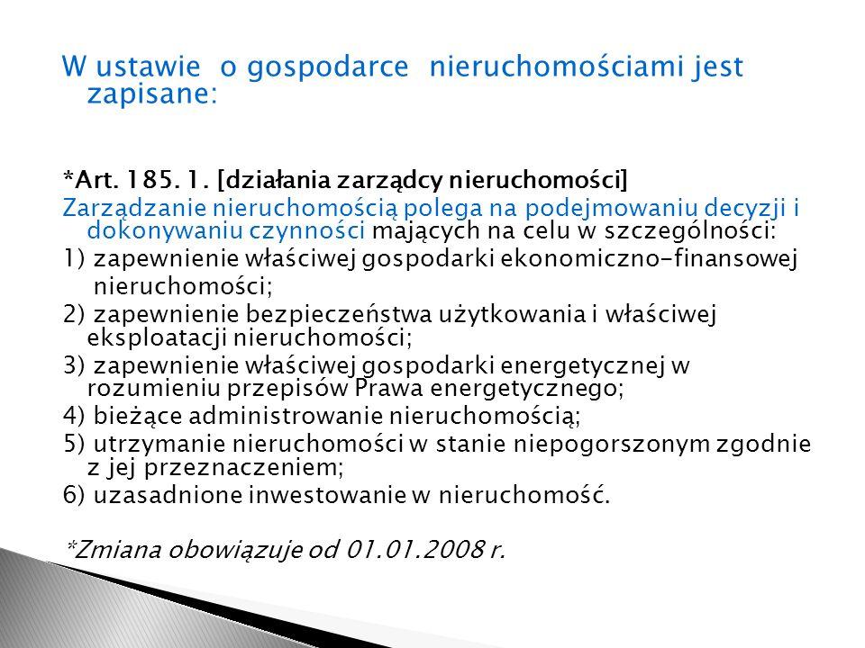 W ustawie o gospodarce nieruchomościami jest zapisane: *Art. 185. 1. [działania zarządcy nieruchomości] Zarządzanie nieruchomością polega na podejmowa