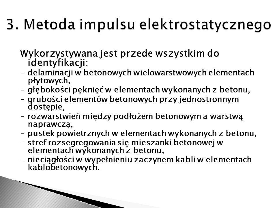Wykorzystywana jest przede wszystkim do identyfikacji: - delaminacji w betonowych wielowarstwowych elementach płytowych, - głębokości pęknięć w elemen