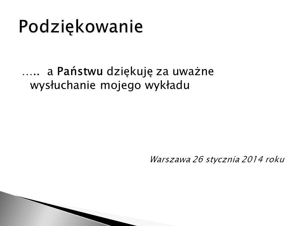….. a Państwu dziękuję za uważne wysłuchanie mojego wykładu Warszawa 26 stycznia 2014 roku