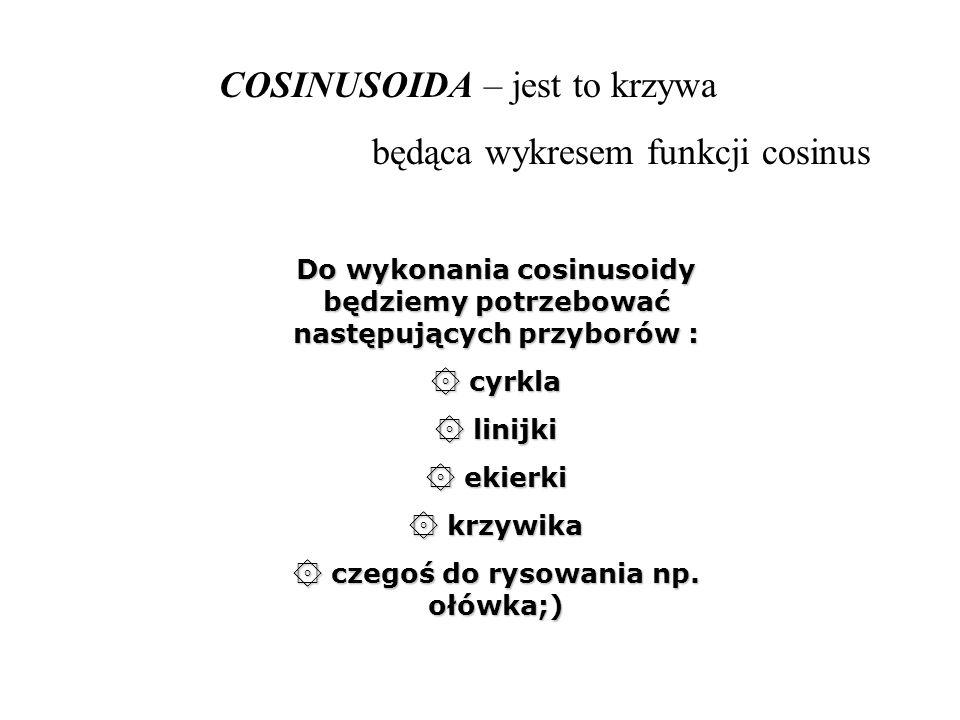COSINUSOIDA – jest to krzywa będąca wykresem funkcji cosinus Do wykonania cosinusoidy będziemy potrzebować następujących przyborów : ۞ cyrkla ۞ linijk