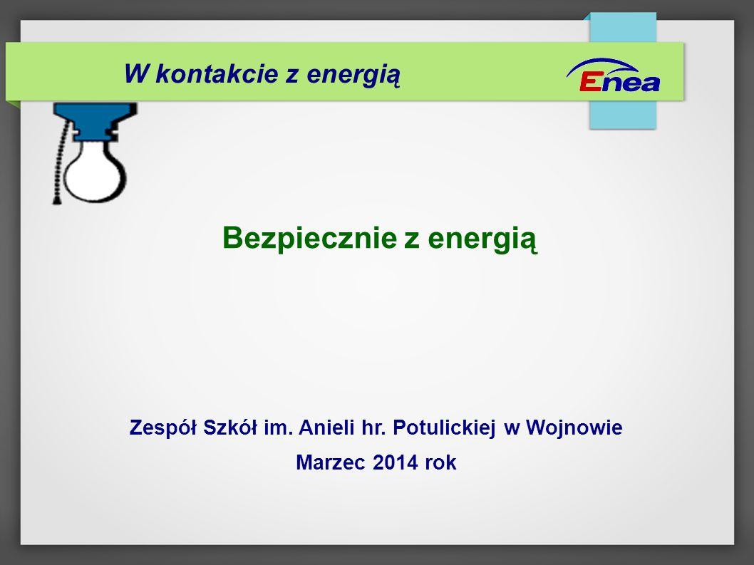 Bezpiecznie z energią Zespół Szkół im. Anieli hr. Potulickiej w Wojnowie Marzec 2014 rok W kontakcie z energią