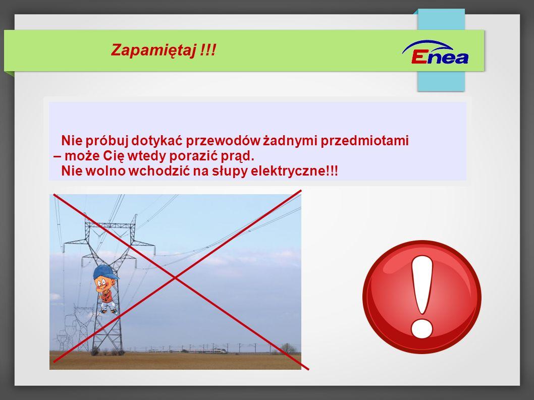 Zapamiętaj !!! Nie próbuj dotykać przewodów żadnymi przedmiotami – może Cię wtedy porazić prąd. Nie wolno wchodzić na słupy elektryczne!!!
