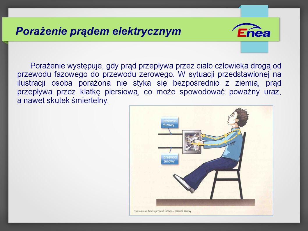 Porażenie prądem elektrycznym W sytuacji, gdy nieuziemionego przewodu pod napięciem dotknie osoba stojąca na ziemi, prąd przepływający przez jej ciało może spowodować śmierć.