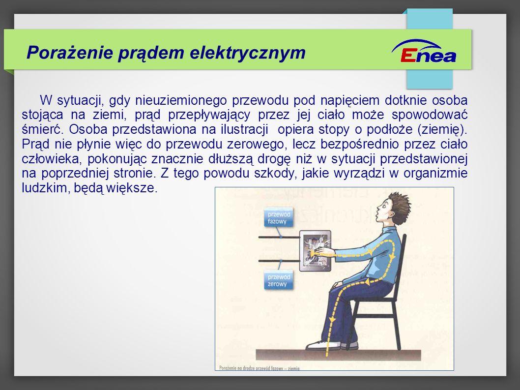 Porażenie prądem elektrycznym W sytuacji, gdy nieuziemionego przewodu pod napięciem dotknie osoba stojąca na ziemi, prąd przepływający przez jej ciało