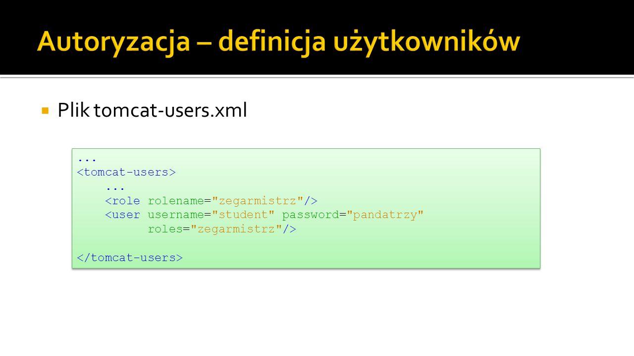Plik tomcat-users.xml......