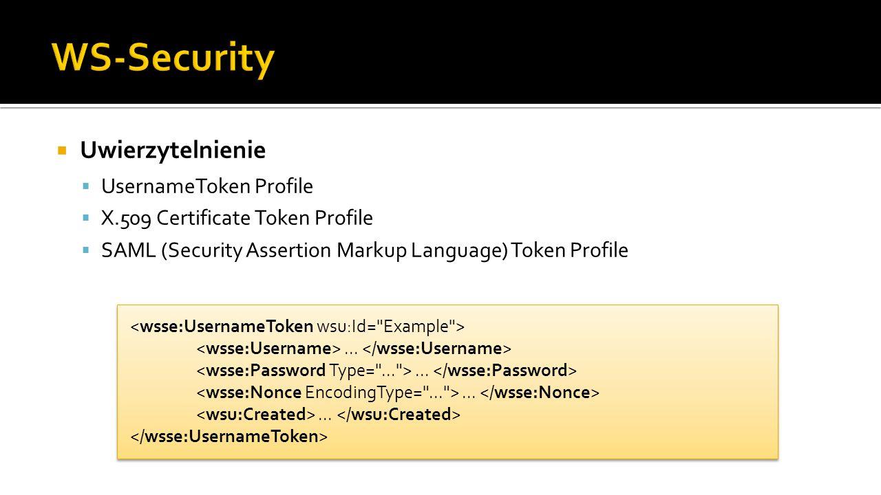 Uwierzytelnienie UsernameToken Profile X.509 Certificate Token Profile SAML (Security Assertion Markup Language) Token Profile............