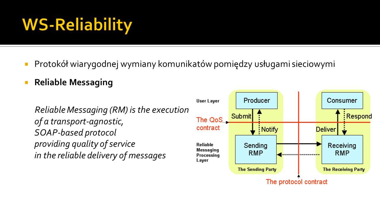 Protokół wiarygodnej wymiany komunikatów pomiędzy usługami sieciowymi Reliable Messaging Reliable Messaging (RM) is the execution of a transport-agnostic, SOAP-based protocol providing quality of service in the reliable delivery of messages