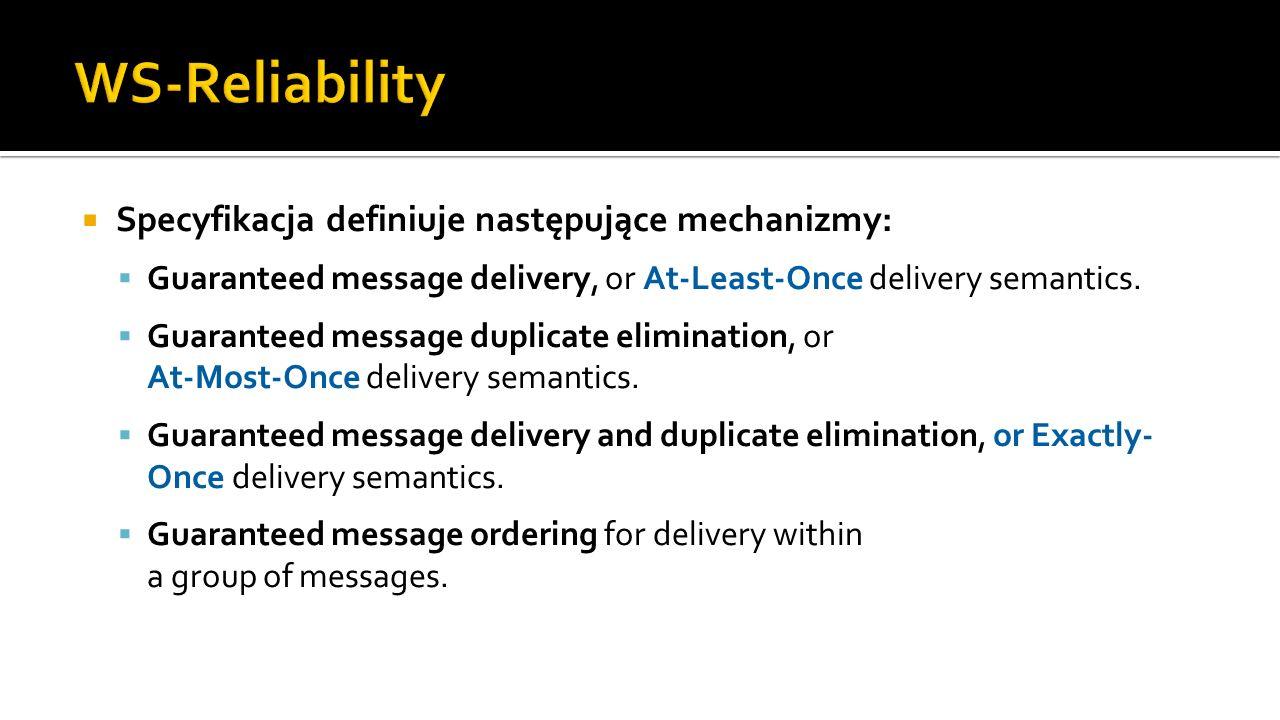 Specyfikacja definiuje następujące mechanizmy: Guaranteed message delivery, or At-Least-Once delivery semantics.