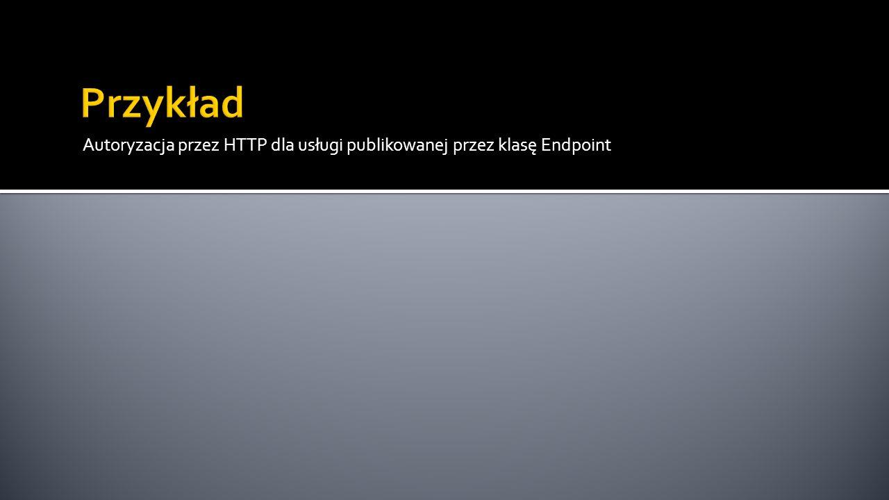 Autoryzacja przez HTTP dla usługi publikowanej przez klasę Endpoint